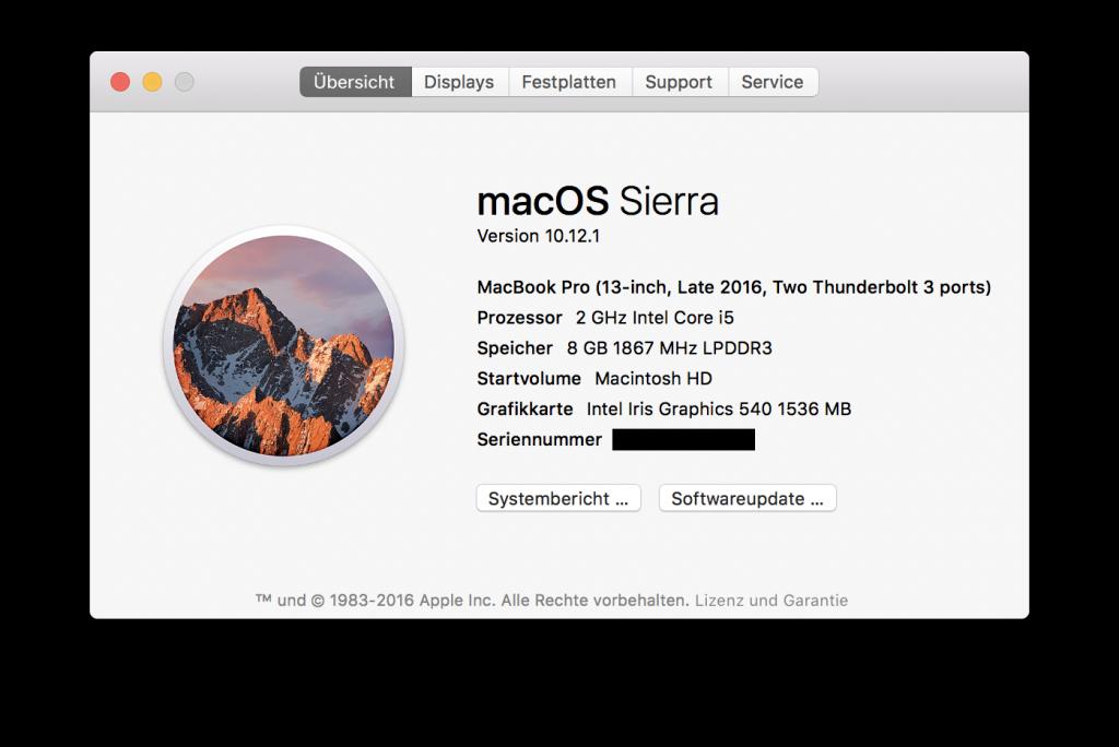 Abbildung 1: macOS Version - Über diesen Mac